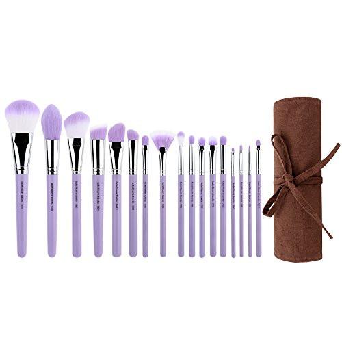 Bdellium Tools Eco-Friendly Purple Bambu Precision 17pc. Set with Roll-Up Pouch