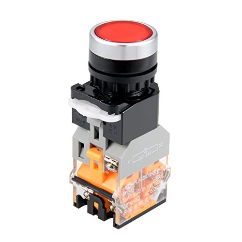 ZCHXD 22mm Momentary Push Button Switch Red LED Light Round Button DPST 1 NO 1 NC Light 24V -