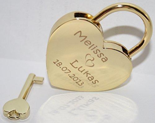 Herzschloss Gold inkl. Wunsch-Gravur beidseitig, Geschenkbeutel