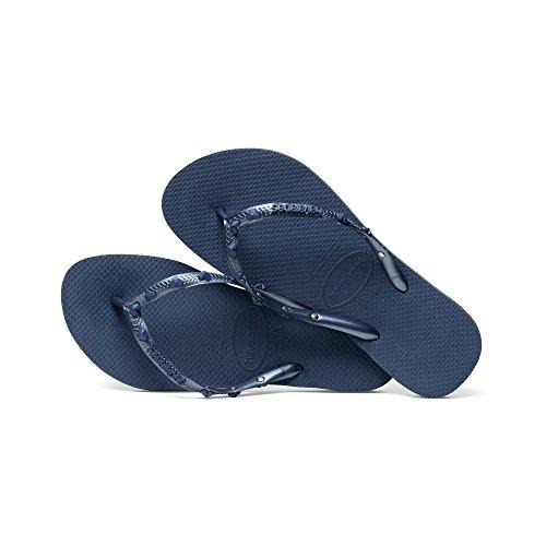 Havaianas Womens Slim Hardwear Flip Flops Metallic Charm Embellished Straps Blue