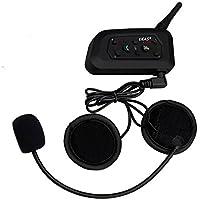 Ejeas V6 Auricular Intercomunicador Bluetooth para Motocicletas, Gama Comunicación Intercom de 1200m, Comunicador Auricular para Casco, IPX5 Impermeabilidad, Soporta FM Radio, Intercomunicacion entre 6 motociclistas (1xV6)