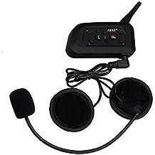 Ejeas V6 Pro Auricular Intercomunicador Bluetooth para Motocicletas, Gama Comunicación Intercom de 1200m, Comunicador Auricular para Casco, IPX5 Impermeabilidad, Intercomunicacion entre 6 motociclistas (1xV6)