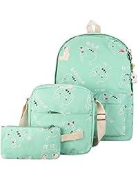 BESTVECH 3pcs Autumn Winter Women Backpack Cute Cat Printing School Bag Set(Green)