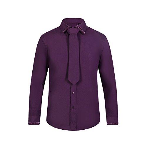 robelli UOMO 100% cotone vestito firmato Camicie/Camicia & CRAVATTA COMBO RB 14006 Viola