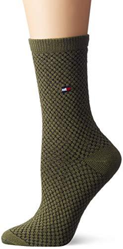 Tommy Hilfiger Damen Socken TH Women BOOTSOCK Waffle, Schwarz (Medium Green 357), 35/38
