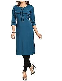 Muta Fashions American Crepe Teal Trendy Women Kurti ( KURTI367_Teal )