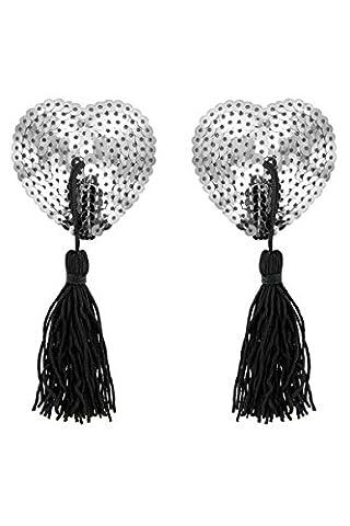 cache teton nipples coeur strass coloris argent avec pompon (NORME CE)