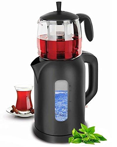 Wasserkocher | Elektrische Teemaschine | Teekocher | Teamaker | Teeautomat Caydanlik | 1.800 Watt | Fassungsvermögen: 1,7 Liter / 0,9 Liter | (Schwarz)