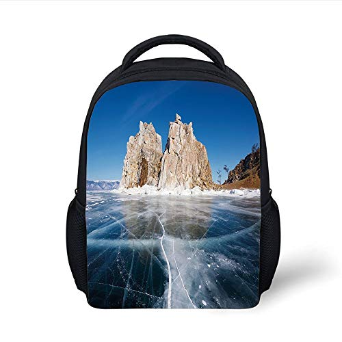 Kids School Backpack Winter,Frozen Lake Baikal in Siberia with Icicles Scenic Nature Surface Structure Cold Climate Decorative, Plain Bookbag Travel Daypack