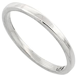 Revoni Sterling Silver 1.7 mm Flat Wedding Band Thumb Ring, size H