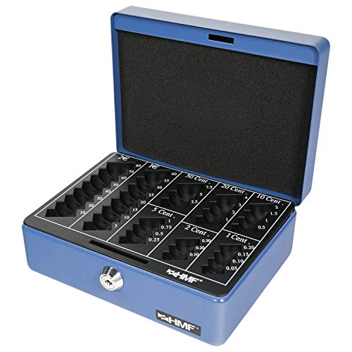 HMF 308-05 Geldkassette Euro-Münzbrett 20 x 16 x 9 cm, blau