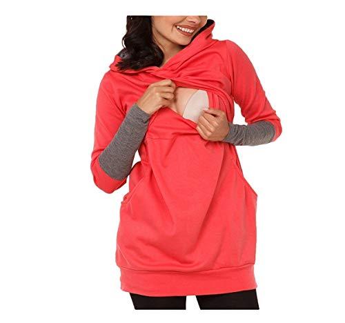 Hippolo Mutterschaft Stillen Pullover T-Shirts Schwangerschaft Kleidung Full Sleeves Hoodie Pflege T-Shirt Volltonfarbe Lose Fütterung Kleid Lady (L, Rot)