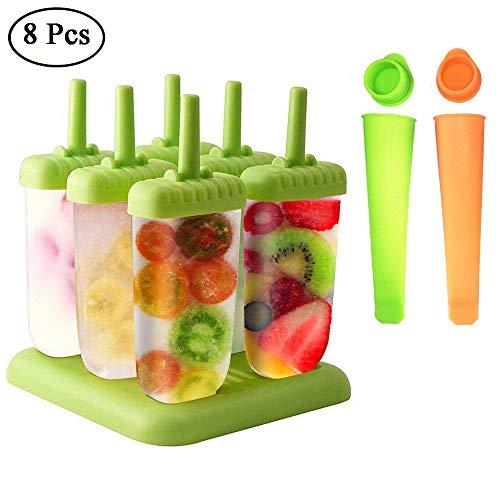 Eisformen, Queta 6 Stück Eis am Stiel und 2 Stück Eislutscher Popsicle Formen Set für Kinder und Erwachsene, Grün, Orange