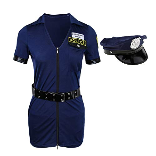 Fenteer Damen Lingerie Sexy Polizistin Kostüm Officer Reizvoll Polizistinnen-Outfit