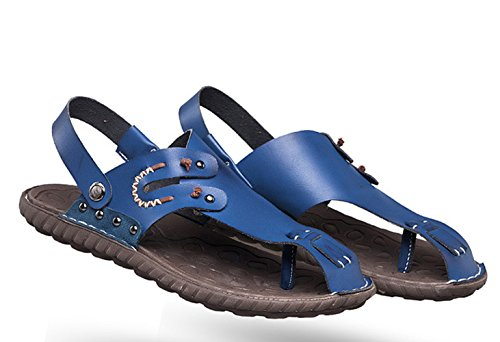 Sommer Herren Handwerk Zehenschutz Rückband Druckknopf Slip On Zehentrenner Lässige Gummi Sohle Anti-Rutsch Strand Sandalen Blau