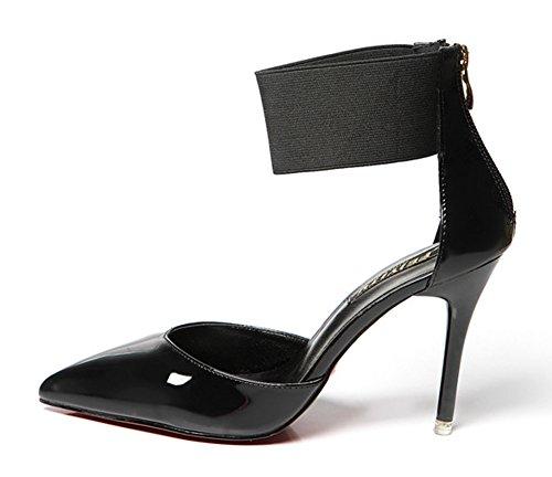 Aisun Damen Lack Kunstleder Spitz Zehen Stiletto High Heels Knöchelriemchen Sandale Mit Reißverschluss Schwarz