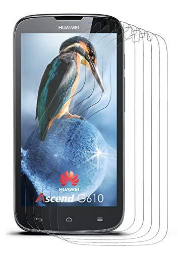 moex 5X Huawei G610   Schutzfolie Klar Bildschirm Schutz [Crystal-Clear] Screen Protector Display Handy-Folie Dünn Bildschirmschutz-Folie für Huawei Ascend G610 Bildschirmfolie