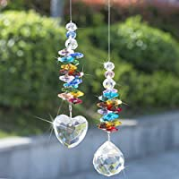 H&D Crystal Rainbow Suncatcher Glass Heart Prism Chakra Colors Beads Pendant Window Decor,Pack of 2