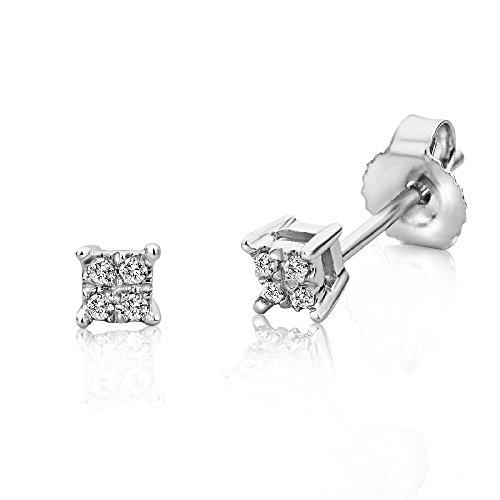 Diamant-ohrringe 4 3 Karat (Miore Ohrstecker für Damen 9 Karat / Filigrane, eckige Ohrringe aus 375 Weißgold mit 0,03 ct. Diamanten / Ohrschmuck klein 3mm x 3mm)