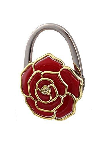 DealMux Lady Blumenmuster faltender Geldbeutel-Handtaschen-Tabelle-Haken-Aufhänger-Halter-Rot - Handtasche Tabelle Aufhänger