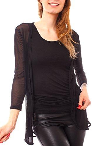 Damen Mesh Netz Jäckchen Longbolero open Cardigan offene Jacke transparent One Size schwarz