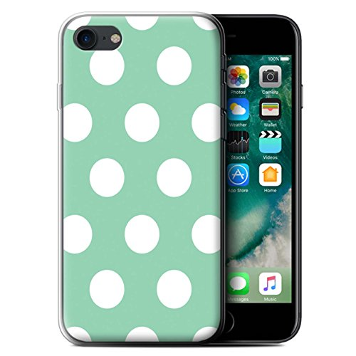 Stuff4 Gel TPU Hülle / Case für Apple iPhone 7 / Lila Muster / Tupfen Muster Kollektion Grün