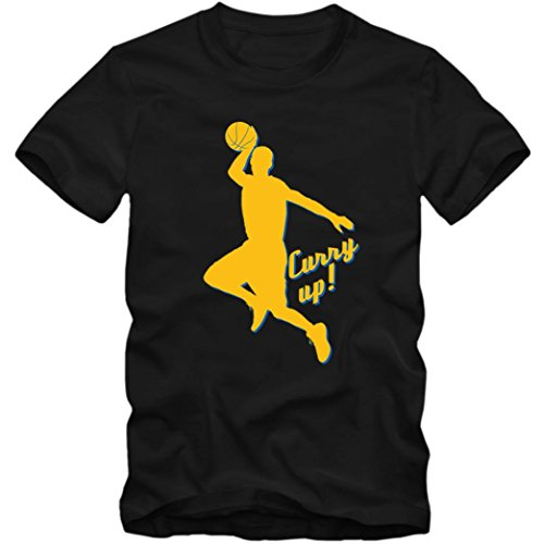 Stephen Curry Up Premium T-Shirt | Basketball | NBA | Hurry Up | Kinder | Shirt, Farbe:Schwarz (Deep Black L190k);Größe:12 Jahre (142-152 cm)