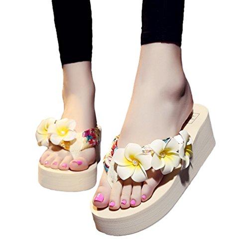 YOUJIA Femmes Boho Fleurs Tongs été Plage Compensées Plateforme Sandales #6 Beige