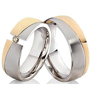Partnerringe Eheringe Verlobungsringe Trauringe aus Edelstahl Bicolor mit einem 0,08ct. TLB Diamant und individueller Lasergravur ELB5