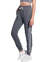 4fadab32ae46bd Women's Athletic 2-Stripe Jogger Pants Drawstring Sweatpants with Pockets