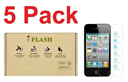 Iflash [5Pack Förderung] gehärtetem Glas Displayschutzfolie für Apple iPhone 5/5S/5C/SE-Transparent Kristall Klar/2.5D Abgerundete Kanten/9H Härte/Kratzfest/Bubble Frei, iPod Touch 4