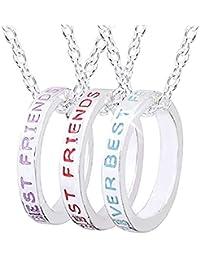 40f2640151fc Inception Pro Infinite Collares Tres Anillos - Mejores Amigos - Mejores  Amigos - Mejores Amigos - Amistad - Color…