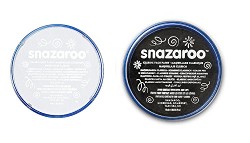 Halloween Snazaroo Black & White Water Based Face & Body Paint Fancy Dress Set (Halloween Für Body-paint Black)