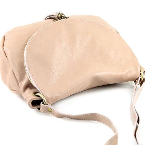 modamoda de - ital. Ledertasche Damentasche Schultertasche Umhängetasche Nappaleder T40 Rosabeige
