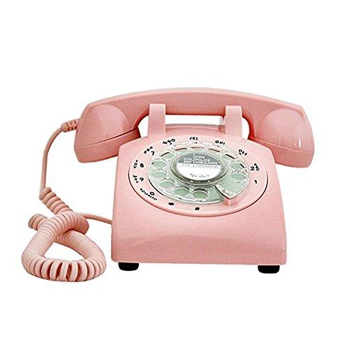 Health UK Telephone- Téléphone Classique Platine Rose ABS Téléphone Cadran Bureau Accueil Téléphone Fixe Machine d'atterrissage Métal Bell Welcome (Couleur : Rose)