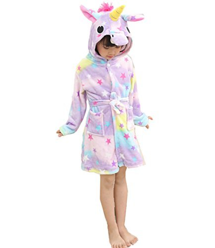 Lila Rosa Streifen (Mädchen Sterne Einhorn Bademantel Morgenmantel 3D Horn Magie Lila Rosa Gelb PJs Pyjamas Meerjungfrau Regenbogen Streifen (Alter 10-12, Star))