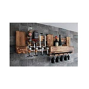 RUSTIKALE WAND-BAR aus Holz mit 40ml GETRÄNKESPENDER und FLASCHENHALTER für Spiritiuosen 0,7-1 Liter und Aufbewahrung für 4 Flaschen Halterung Bar Wand für 5 Weingläser