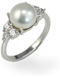Encantador Anillo de plata de ley con perla de agua dulce y Zirconia cúbico