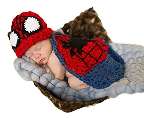 Neugeborenes Baby Häkeln Kostüm Outfits Fotografie Requisiten Spiderman Hut+Mantel 0-3 Monate (Kostüm Babys Für Spiderman)