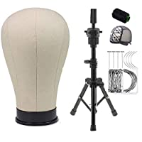 Professional Canvas Block Mannequin Head Wig Heads Set with mini Adjustable Tripod Holder and 50 T-pins, 20 C Needles, 1 Lace Wig Cap, 1 Roll Black Thread for Wigs