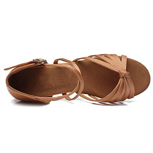 Swdzm Chaussures De Danse Pour Femmes / Chaussures De Danse Latine Satin Ballroom Model-it-203 Brown