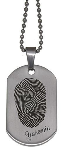 Erkennungsmarke aus Edelstahl graviert mit Ihrem individuellen Fingerabdruck (Fingerabdruck Schmuck)