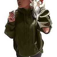 Hanomes Damen pullover, Sweatshirt Plus Größe Frauen Langarm Cut Out Solid Mit Kapuze Loch Pullover Tops preisvergleich bei billige-tabletten.eu