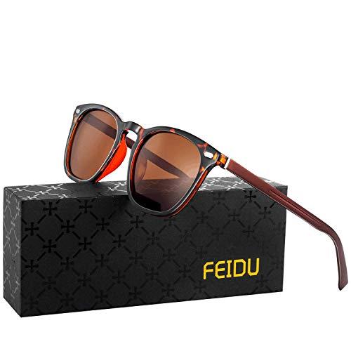 FEIDU retro polarisierte sonnenbrille herren - Farbwechselnde Sonnenbrille damen,Transparente Farblinse, Kompositmaterial und Al-Mg Metall Passende Ausführung FD0581 (Leopard braun, 65)