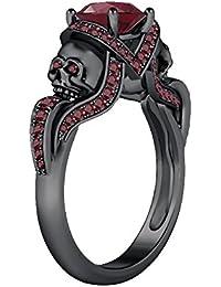 Silvernshine 1.52Ct Red Garnet CZ Engagement & Wedding Two Skull Design Ring 14K Black Gold Plated