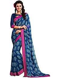 Vishal Prints Blue Printed Saree With Fancy Pink Printed Border With Blouse Piece