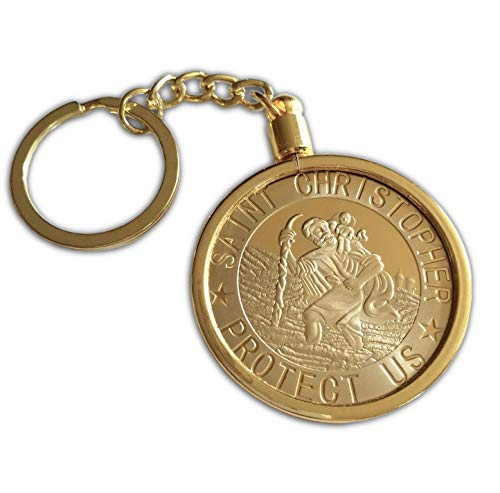 Heiliger Christophorus Schlüsselkette Schönes glänzendes Amulett u. Sammelbares Andenken für Schutz