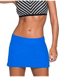 Eozy Women's Solid Color Waistband Skirted Bikini Bottom Swimdress