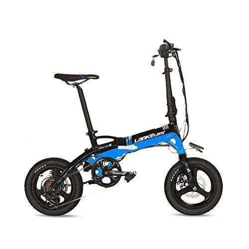 extrbici A6zusammenklappbar Mini Elektro-Fahrrad 35,6cm Aluminium Legierung Rahmen 240W HUB Motor 36V 8.7ha Verstecken abnehmbarer Lithium-Akku 7Speed Shimano Shift Gears faltbar E-Bike Double Mechanische Scheibenbremsen, blau / schwarz