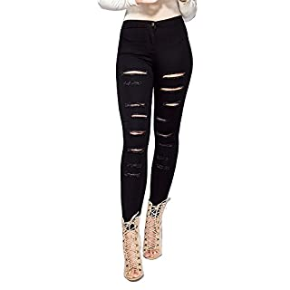 Simply Chic Outlet SCO New Womens High Waisted Extreme Ripped Skinny Jeans Denim (10, Multi Slash 2 Pockets)